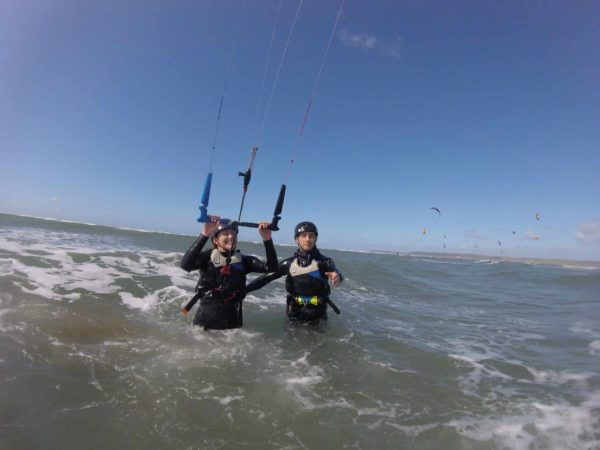 Beginner kitesurfing lessons at Westward Ho! North Devon